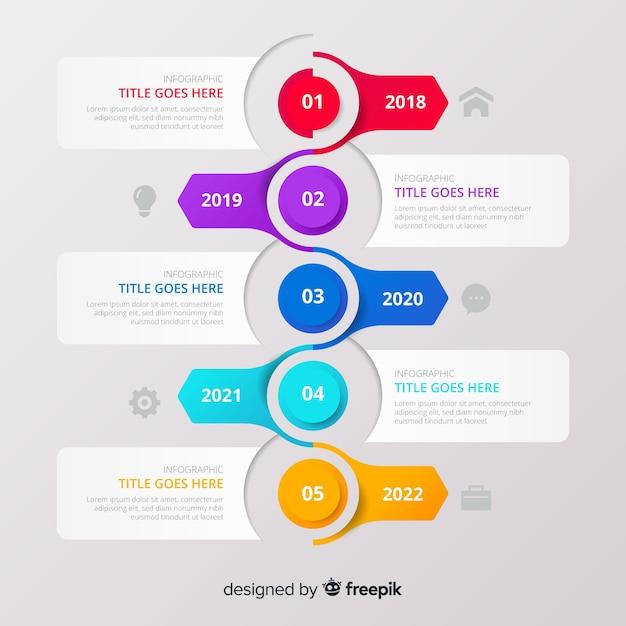 Infografía de línea de tiempo con botones vector gratuito