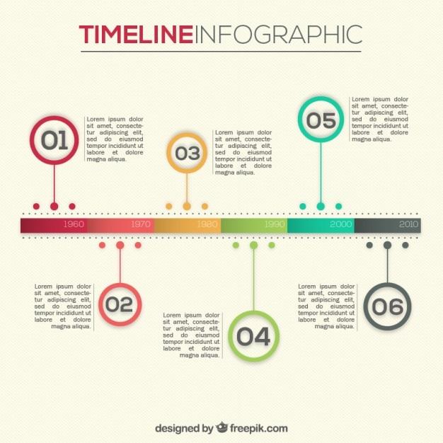 Infografía línea del tiempo de colores | Descargar Vectores gratis