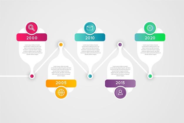 Infografía de línea de tiempo degradado con texto colorido Vector Premium