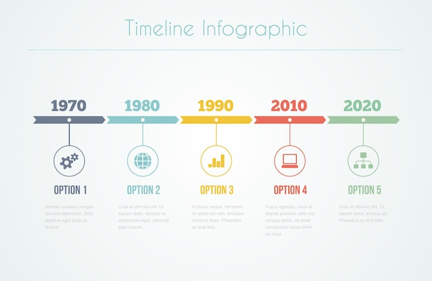 Infografía de línea de tiempo con diagramas y texto con cinco pasos vector gratuito