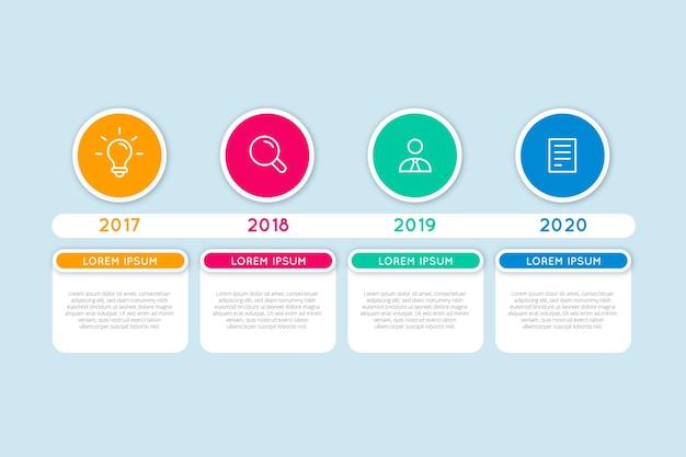 Infografía de línea de tiempo para diferentes años. Vector Premium