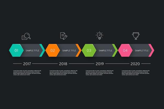 Infografía de línea de tiempo en diseño plano vector gratuito