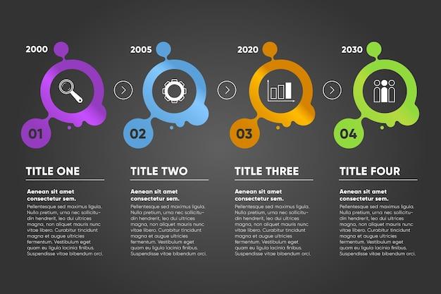 Infografía de línea de tiempo con espacio de texto y diseño de animación. vector gratuito
