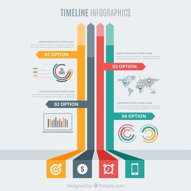 infograf u00eda de l u00ednea del tiempo con flechas de colores