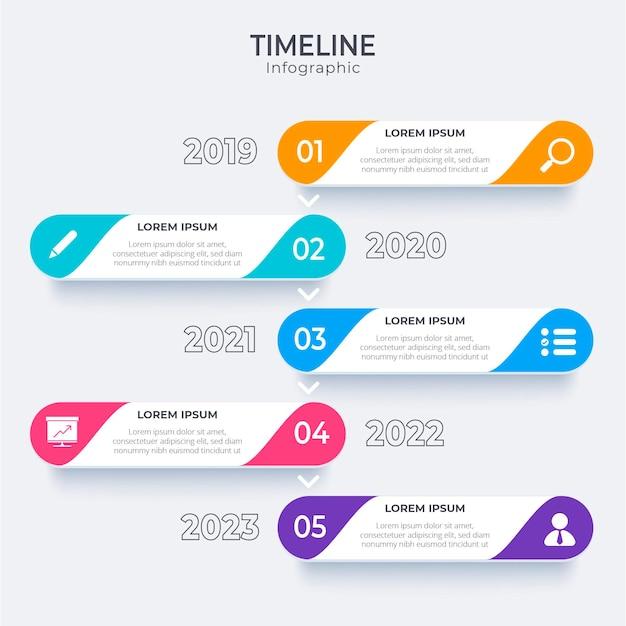 Infografía de línea de tiempo plana vector gratuito
