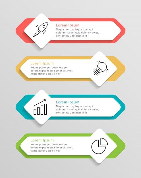 Infografía de línea de tiempo Vector Premium