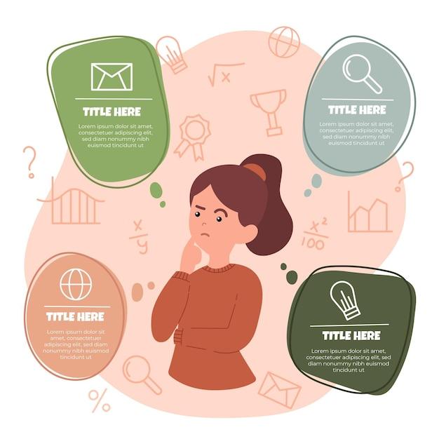 Infografía de lluvia de ideas dibujada a mano Vector Premium