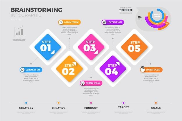 Infografía de lluvia de ideas en diseño plano vector gratuito