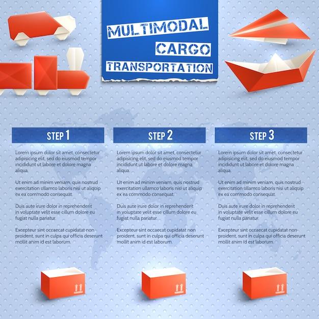 Infografía logística de origami vector gratuito