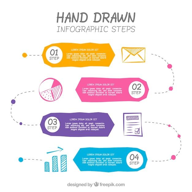 Infografía a mano con estilo colorido vector gratuito