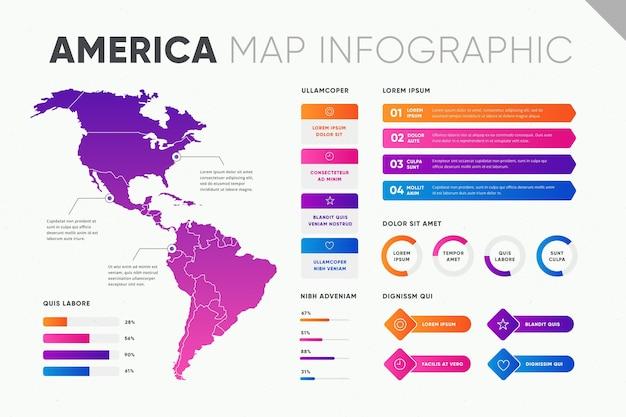 Infografía de mapa de américa degradado vector gratuito