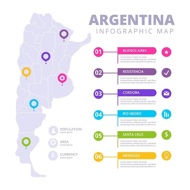 Infografía de mapa de argentina dibujado a mano vector gratuito