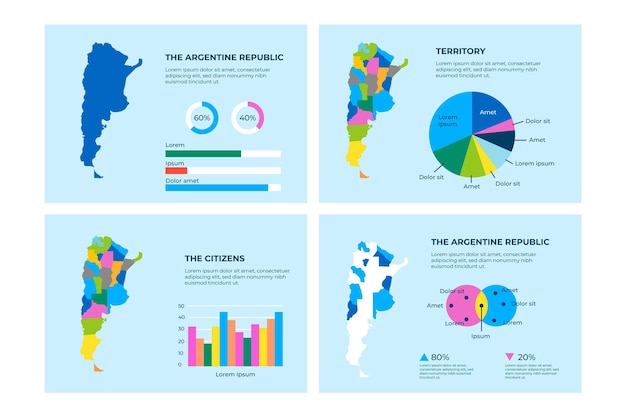 Infografía de mapa de argentina plana vector gratuito