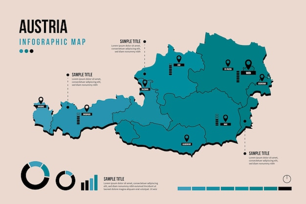Infografía de mapa de austria en diseño plano Vector Premium