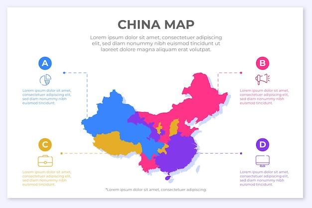 Infografía de mapa de china en diseño plano vector gratuito