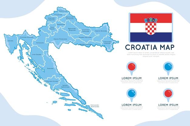 Infografía de mapa de croacia dibujado a mano vector gratuito
