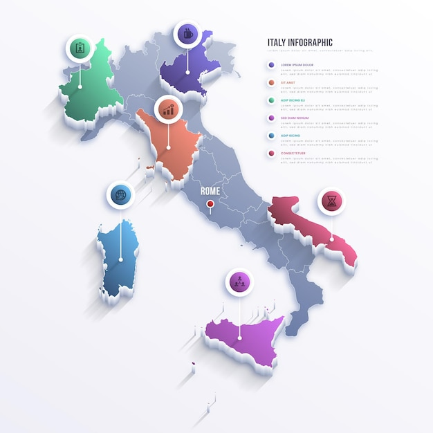Infografía de mapa de italia degradado Vector Premium
