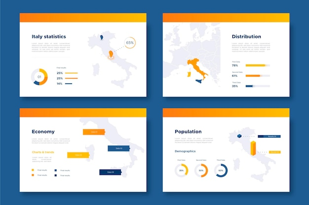 Infografía de mapa de italia isométrica Vector Premium