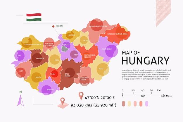 Infografía de mapa plano de hungría vector gratuito