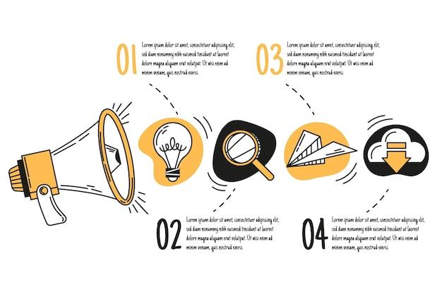 Infografía de marketing dibujada a mano vector gratuito