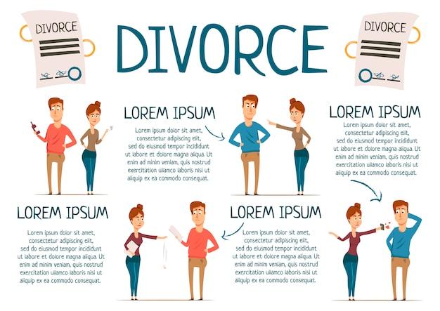 Infografía de matrimonio y divorcio vector gratuito