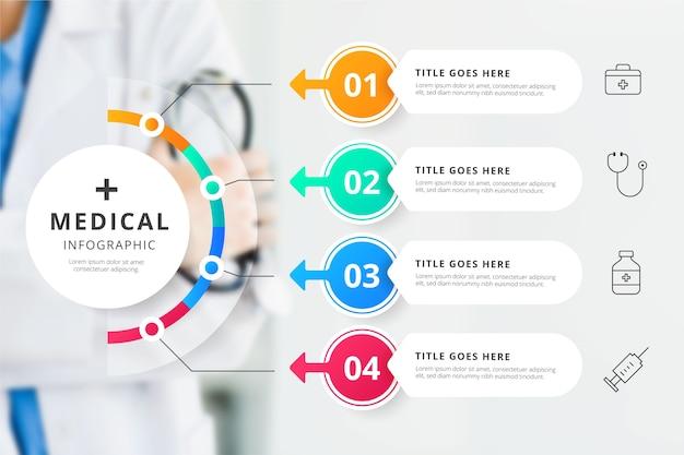 Infografía médica con concepto de foto Vector Premium