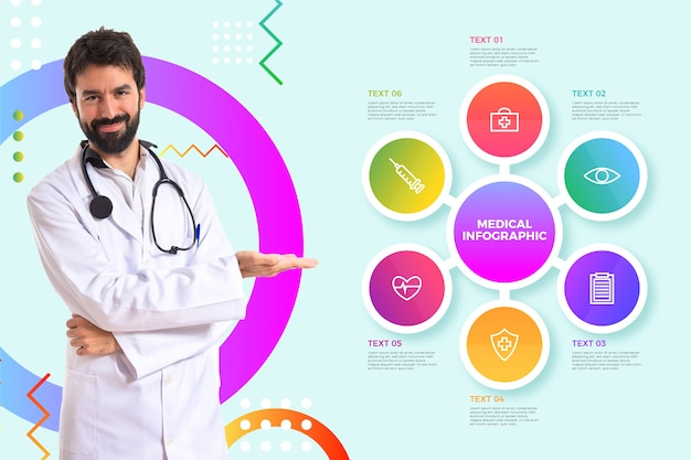 Infografía médica con foto vector gratuito