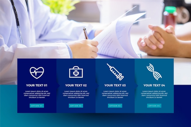 Infografía médica con foto Vector Premium