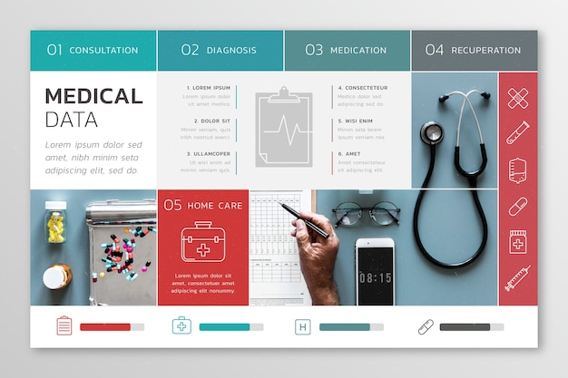 Infografía médica con imagen vector gratuito