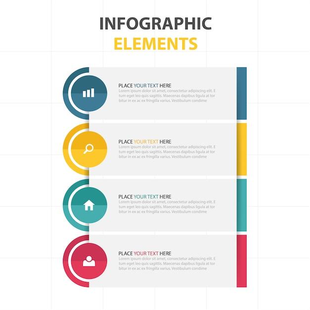 Infografía moderna con cuatro colores vector gratuito