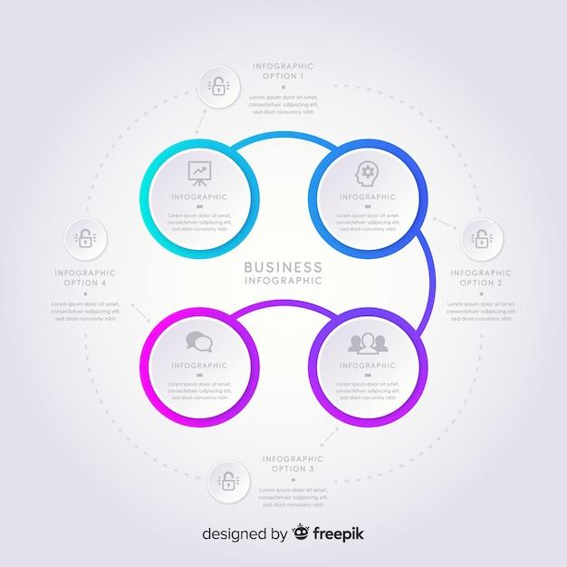 Infografía moderna en estilo degradado vector gratuito