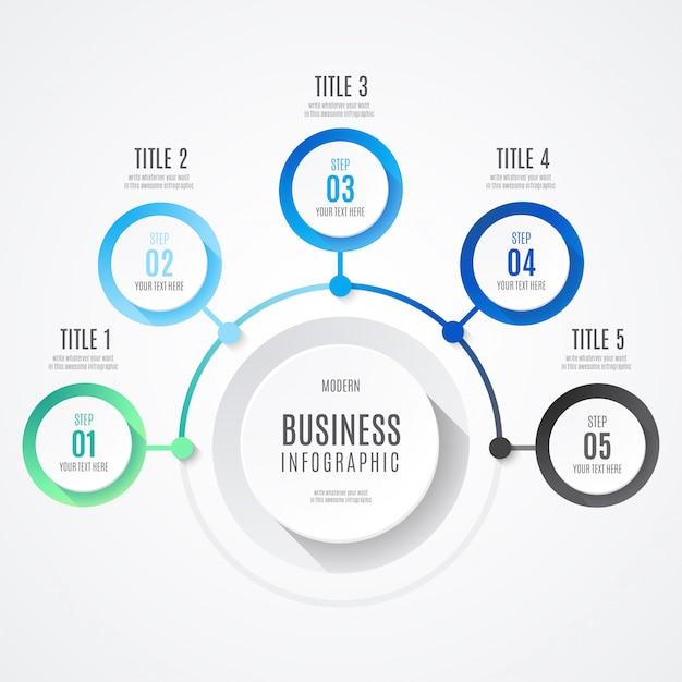 Infografía moderna de negocios con colores azules vector gratuito
