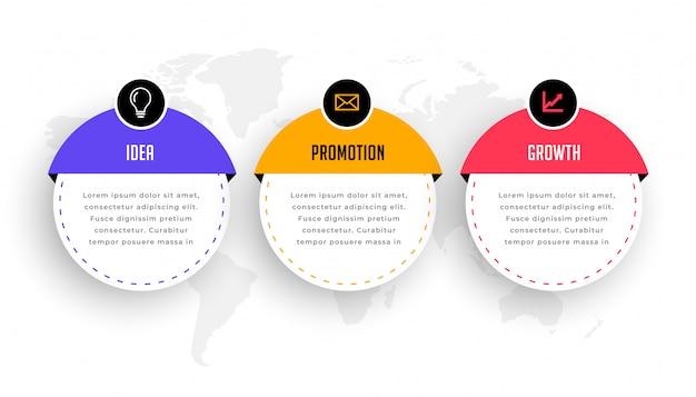 Infografía moderna de tres pasos para el flujo de trabajo empresarial vector gratuito