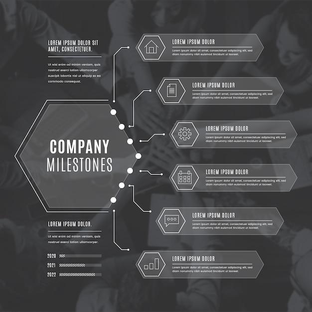 Infografía monocromática de negocios vector gratuito