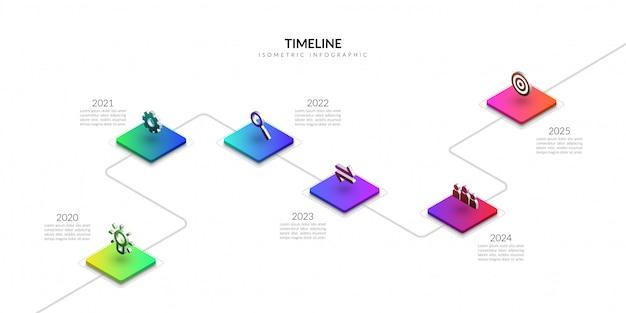 Infografía de negocio de línea de tiempo isométrica, elementos gráficos de flujo de trabajo colorido Vector Premium