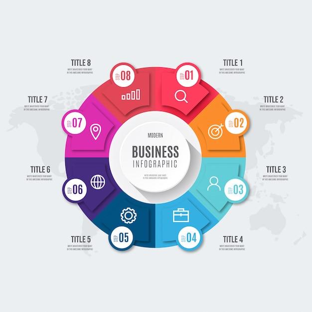 Infografía de negocios colorido moderno vector gratuito