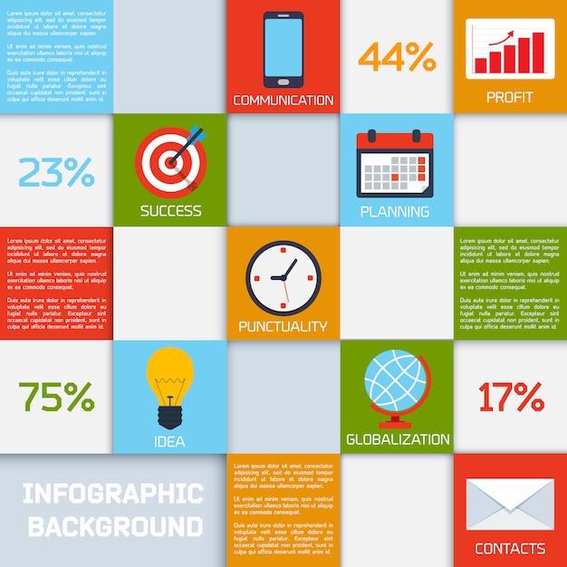 Infografía de negocios cuadrados de color Vector Premium