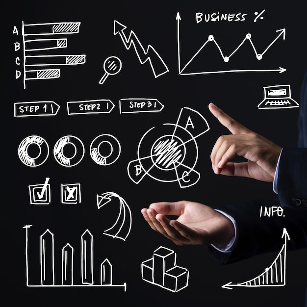 Infografía de negocios dibujados a mano vector gratuito