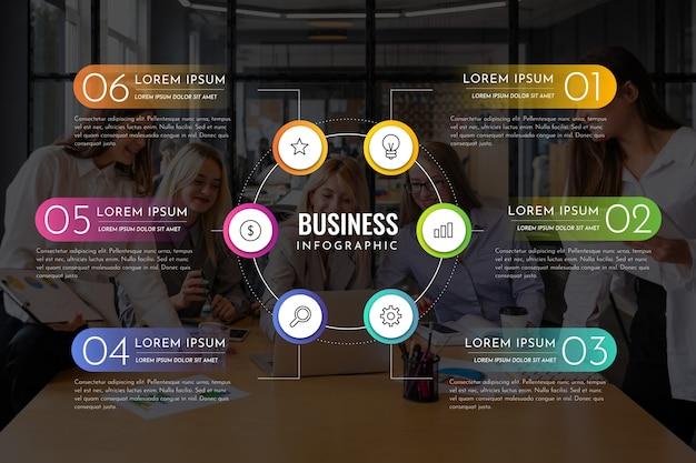 Infografía de negocios con foto Vector Premium