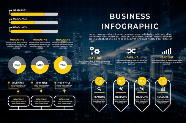 Infografía de negocios con imagen vector gratuito