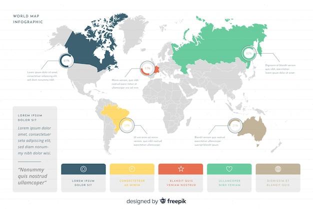 Infografia de negocios con mapa mundial vector gratuito
