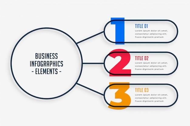 Infografía de negocios de marketing con tres pasos. vector gratuito