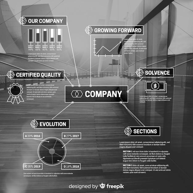 Infografía de negocios moderna con foto vector gratuito