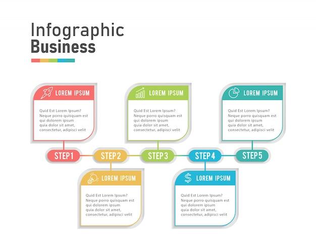 Infografía de negocios modernos cinco pasos Vector Premium