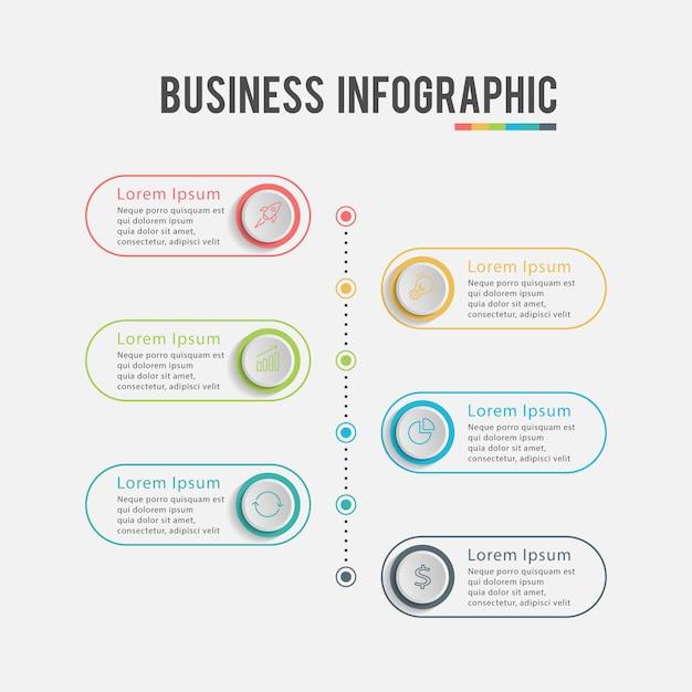 Infografía de negocios modernos seis pasos Vector Premium