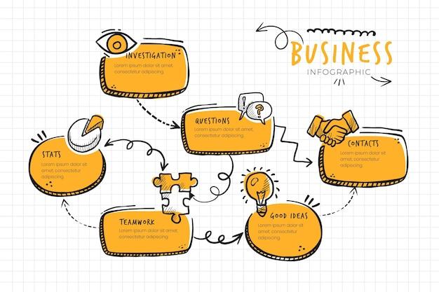 Infografía de negocios monocolor doodle vector gratuito