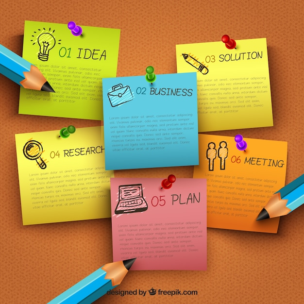 Infografía de negocios con notas clavadas vector gratuito