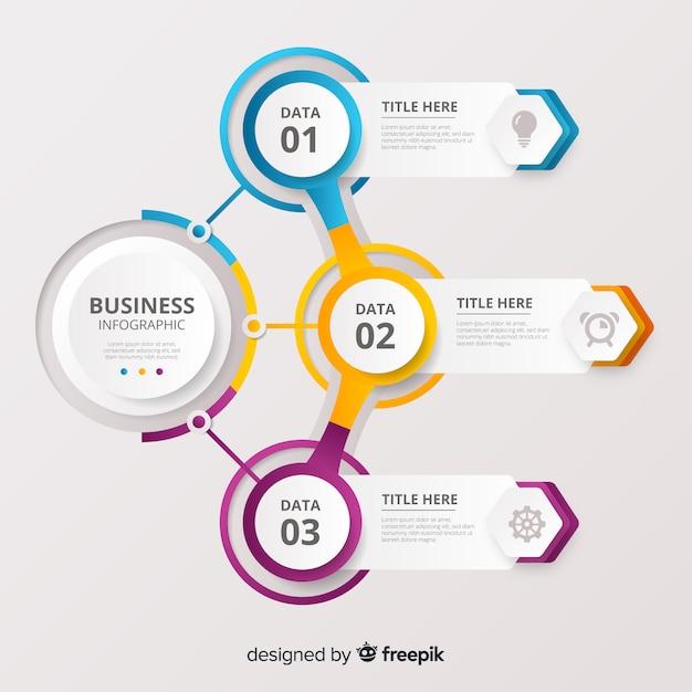 Infografía de negocios paso vector gratuito