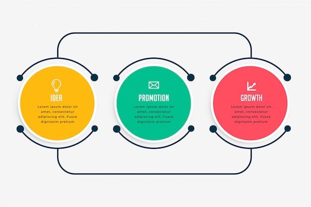 Infografía de negocios pasos en estilo de línea vector gratuito