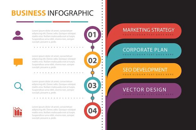 Infografía de negocios con presentación de elementos. vector gratuito